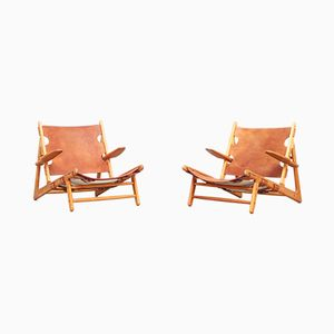 BM50 Lounge Hunting Chairs by Borge Mogensen for Fredericia, 1950s, Set of 2