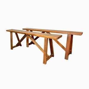 Vintage French Wooden Benches, 1920s, Set of 2