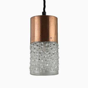 Mid-Century Hängelampe mit eingegossenem Lampenschirm aus Glas von Eros Raffael