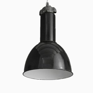 Lampada industriale vintage smaltata nera, Germania, 1945