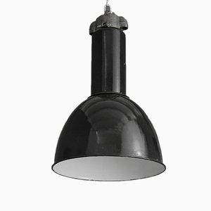 Vintage German Factory Light in Black Enamel, 1945