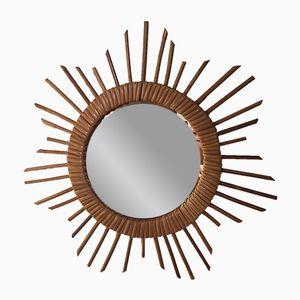 Espejo vintage en forma de sol de ratán