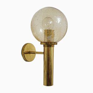 Large Swedish Brass & Glass Wall Lamp, 1960s