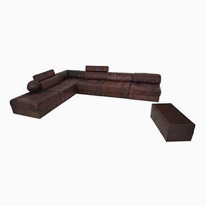 Sofá modular DS88 vintage de retales de cuero marrón para de Sede