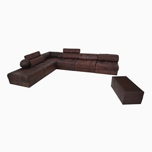 Vintage DS88 Modular Brown Leather Patchwork Sofa from de Sede