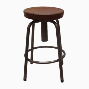 Spanish Industrial Wood & Metal Swivel Stool, 1960s