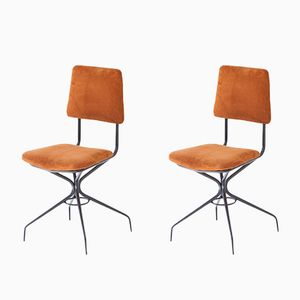 Suede Leather & Black Enameled Iron Chairs, 1950s, Set of 2