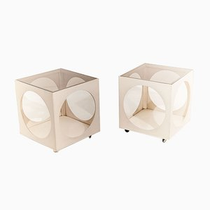 White Side Tables in Wood & Smoked Glass, 1970