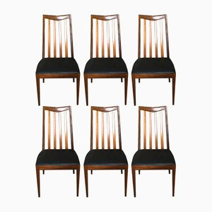 Vintage Black Skai & Teak Chairs with by Leslie G.Dandy for G-Plan, Set of 6