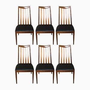Vintage Stühle aus Teak & schwarzem Skai von Leslie G.Dandy für G-Plan, 6er Set