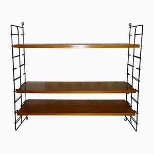 Walnut Veneer Shelving Unit with Black Uprights, 1960s