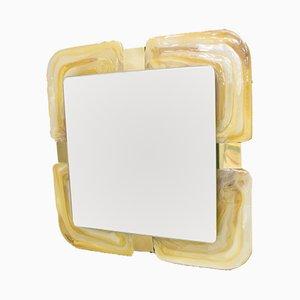 Specchio retroilluminato in ottone ed acrilico