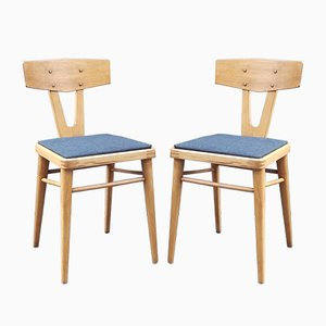 Mid-Century Beech Side Chairs, 1950s, Set of 2