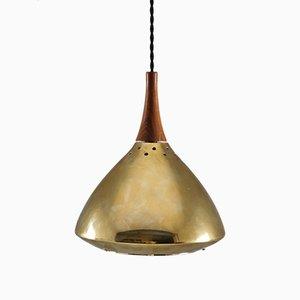 Lámpara colgante sueca de palisandro y latón perforado de Falkenberg, años 60