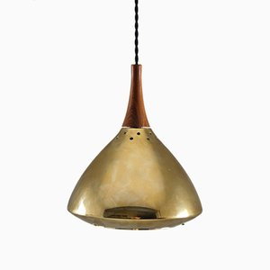 Swedish Rosewood & Perforated Brass Pendant from Falkenberg, 1960s