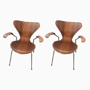 Poltrone di Arne Jacobsen per Fritz Hansen, anni '60, set di 2