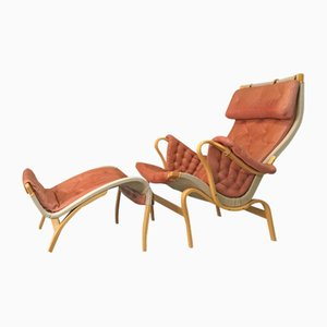 Vintage Pernilla Lounge Chair with Ottoman by Bruno Mathsson for Dux, 1970s