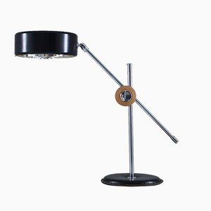 Chrome, Leather & Black Metal Desk Lamp from Ateljé Lyktan, 1960s