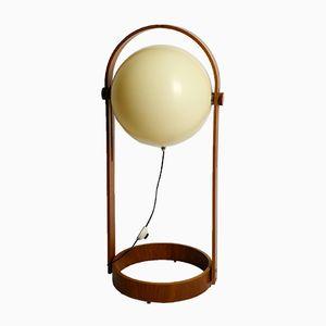Lámpara de pie suiza grande de contrachapado y teca de Temde, años 60