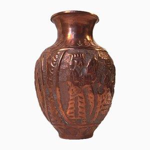 Mid-Century Vase aus Kupfer mit Prägung, 1940er