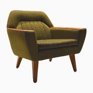 Norwegian Green Wool & Teak Lounge Chair, 1960s