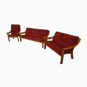 Pair of Danish Sofas & Lounge Chair Set by Poul Jeppesen, 1960s