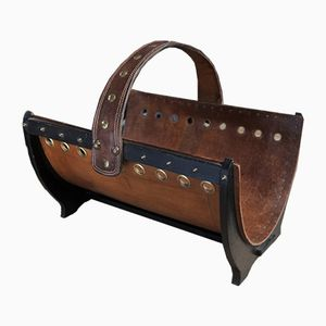 Vintage Leather & Copper Log Holder, 1960s