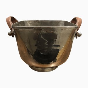 Vintage Silver Metal Champagne Bucket with Leather Handles
