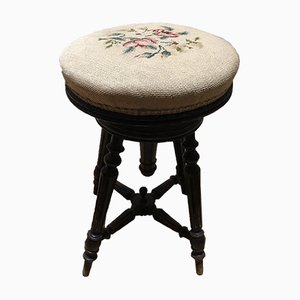 Antique Napoleon III Piano Stool with Roses Tapestry