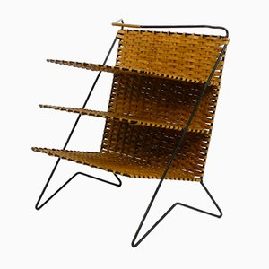 Mid-Century Rattan Newspaper and Magazine Rack