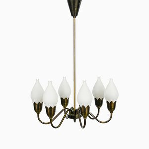 Brass Tulip Chandelier from Fog & Morup, 1960s