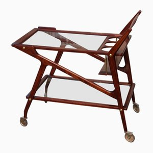 Mid-Century Wood and Glass Bar Cart