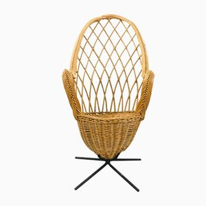 Vintage French Rattan and Steel Armchair