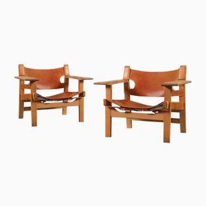Spanische Stühle von Borge Mogensen für Fredericia, 1960er, 2er Set