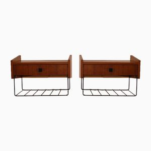 Vintage Teak & Metal Wall-Mounting Bedside Shelves, Set of 2