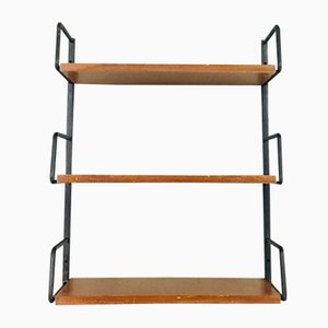 Vintage Teak and Steel Wall Shelf