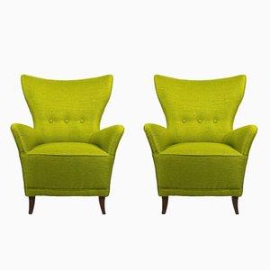 Grüne italienische Vintage Sessel, 1940er, 2er Set