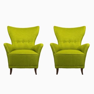 Vintage Italian Green Armchairs, 1940s, Set of 2