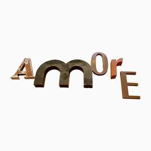 Juego de letras Amore francés industrial, años 50