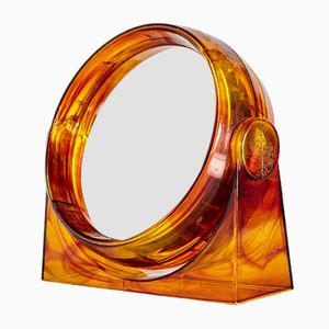 Vintage Amber-Framed Table Mirror, 1960s