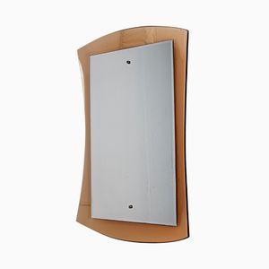 Gewölbter Spiegel mit pinkem Rahmen von Cristal Art, 1960er