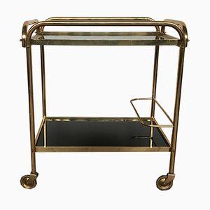 Vintage Brass Rolling Bar Cart