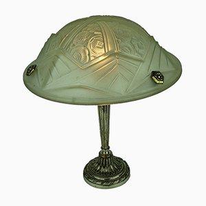 Lampada da tavolo Art Déco con motivi floreali e geometrici, anni '20
