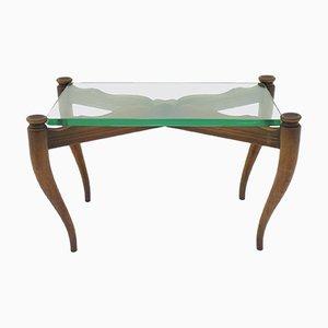 Tavolino da caffè in legno e vetro, anni '50