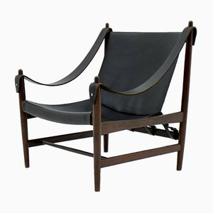 Scandinavian Mahogany and Leather Lounge Chair, 1960s