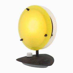 Lámpara de mesa alemana amarilla y blanca, años 60