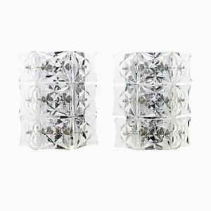Apliques de pared grandes de cristal de Kinkeldey, años 60. Juego de 2