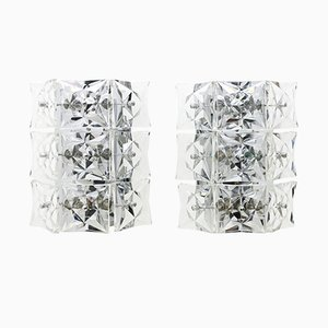 Large Crystal Glass Wall Sconces from Kinkeldey, 1960s, Set of 2