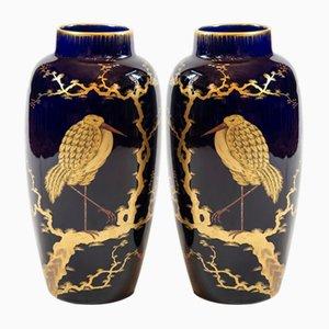 French Porcelain Cobalt Blue Vases, 1900s, Set of 2