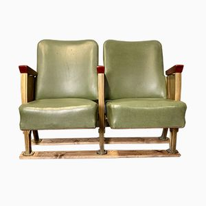 Vintage French Green Vinyl Cinema Seats